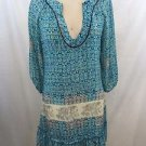 TOLANI TEAL/ CREAM ELEPHANT PRINT SHEER SILK TUNIC DRESS SIZE S