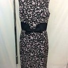 MILLY BLACK/ PINK PRINT SILK BOW FRONT SLEEVELESS DRESS SIZE 10
