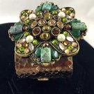 "Leatherock™ gold Leather Cuff Bracelet multicolor crystals/Stones 6 1/2"""