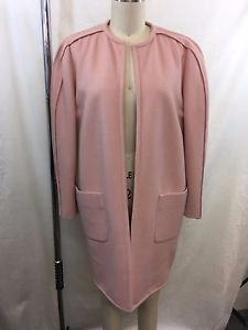 VALENTINO BOUTIQUE VINTAGE PINK WOOL PLEATED DETAIL OPEN COAT SIZE 4