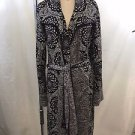 MISSONI BLACK/ CREAM/ PURPLE SWIRL WOOL TIE AROUND SWEATER COAT SIZE 6