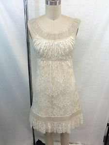 VALENTINO CREAM BEADED LACE OVERLAY DRESS SIZE SMALL RETAIL $7,950