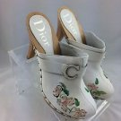 DIOR WHITE LEATHER FLORAL EMBROIDERED WOODEN CLOGS SIZE 42 RETAIL $490