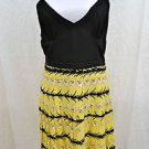 MILLY BLACK/ YELLOW LILY STRIPED PLEATED SILK COCKTAIL DRESS SIZE 10