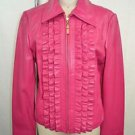 ST JOHN COLLECTION HOT PINK LEATHER RUFFLE FRONT ZIP DOWN JACKET SIZE SMALL