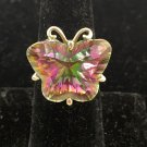 Pink green SPINEL Butterfly Color Changing .925 SILVER RING Sz 8