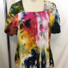 BABETTE WATER COLOR TIE DYE S/S SNAP DOWN TOP SIZE X-SMALL