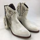 FRYE DEBORAH DISTRESSED OFF WHITE STUDDED WESTERN ANKLE BOOTS SIZE 7 M