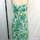 MONIQUE LHUILLIER BLUE/ GREEN PAISLEY LINEN OPEN BACK DRESS SIZE 10 RETAIL $1786