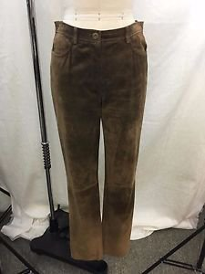DKNY CAMEL BROWN SUEDE LINED SLIM PANTS SIZE 4