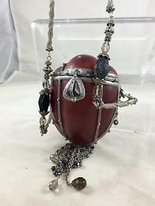 MAYA DARK AMBER MOLDED RESIN SILVER CHAIN DETAIL SMALL STRUCTURED SHOULDER BAG