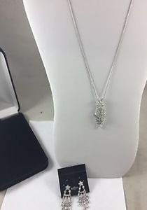 """Crystal .925 Sterling Silver Necklace and Chandelier Earring Set 18"""""""