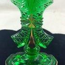 JIZERSKE SKIO GREEN CZECH PRESSED GLASS PERFUME BOTTLE