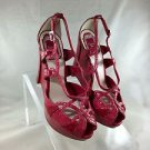 CHRISTIAN DIOR RED SNAKESKIN PEEP TOE STAPPY WEDGES SIZE 37.5