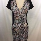 BEBE BLACK PASTEL PRINT V-NECK BODYCON DRESS SIZE XS