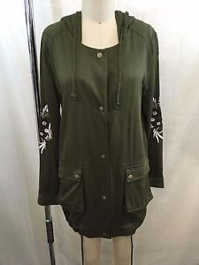 BLUE RAIN ARMY GREEN EMBROIDERED HOODED CARGO JACKET SIZE S