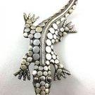 .925 Sterling Silver Lizard Design Pin Brooch