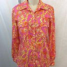 LILLY PULITZER PINK/ ORANGE FLORAL BUTTON DOWN COTTON SHIRT SIZE SMALL