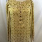 TORY BURCH BEIGE GOLD PRINTED SILK PLEATED SLEEVE TUNIC BLOSE SIZE 6