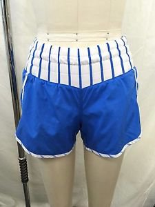 LULULEMON ATHLETICA BLUE/ WHITE RUN SHORTS SIZE 4