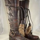 CESARE PACIOTTI BROWN LEATHER MULTI LACE UP MID CALF BOOTS SIZE 38