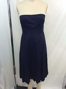 J. CREW NAVY LINEN STRAPLESS PLEATED DRESS SIZE 4