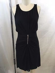 BAILEY 44 BLACK RUCHED ZIP FRONT DETAIL SLEEVELESS DRESS SIZE XS