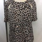 FINDERS KEEPERS LEOPARD PRINT ZIP BACK CUT OUT SLEEVE BLOUSE SIZE S