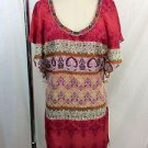 VELVET CORAL MULTI PATTERN SEQUIN BEADED RUFFLE S/S DRESS SIZE M