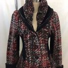 COCOMENTHE RED/ BLACK WOVEN WOOL MOHAIR SWEATER JACKET SIZE 3