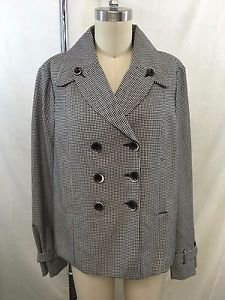 FRENCH CONNECTION BLACK/ WHITE HOUNDSTOOTH DOUBLE BREASTED JACKET SIZE 10