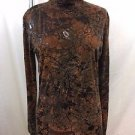 BAXIS & BAXIS BROWN/ RUST FLORAL TURTLENECK TOP SIZE S