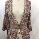 ANN FERRIDAY BROWN/ WHITE LACE CARDIGAN ONE SIZE