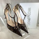 LUCIANO PADOVAN BROWN/ BEIGE SNAKE EMBOSSED T-STRAP POINTED PUMPS SIZE 37