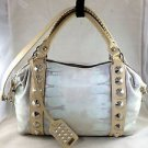 "BE & D LIM EDITION ""IKAT WASH"" LEATHER GARBO STUDDED SATCHEL W/ SHOULDER STRAP"