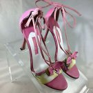 BLUMARINE PINK FLORAL SUEDE STRAPPY OPEN TOE HEELS SIZE 38
