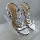 KATE SPADE SILVER METALLIC STRAPPY SANDALS SIZE 8.5 B
