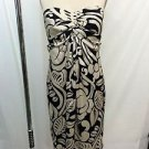 LAUREN RALPH LAUREN DRESS CREAM/ BLACK STRAPLESS RUCHED FRONT DRESS SIZE 10