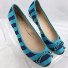 KATE SPADE BLUE STRIPED FABRIC ROPE SOLE BALLET FLATS SIZE 7.5 M