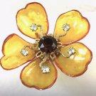 Vintage Castlecliff  Resin Gold Tone orange Stone Filigree Pin Brooch