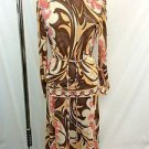 EMILIO PUCCI VINTAGE SILK PEACH/ MULTI PRINT 2 PIECE TOP/ SKIRT W/ BELT SIZE 8