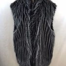 A FURGERY ORIGINAL BLACK/ WHITE FAUX FUR OPEN VEST ONE SIZE