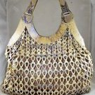 NANCY GONZALEZ BEIGE/ IRIDESCENT BLUE ARTICULATED PYTHON SHOULDER BAG