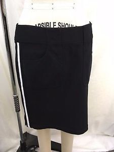 CHARLES CHANG LIMA BLACK WHITE SIDE STRIPE PENCIL SKIRT SIZE 10