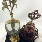 (2) ORMOLU   FILIGREE & LEAF DESIGN PERFUME BOTTLES GOLD TONE