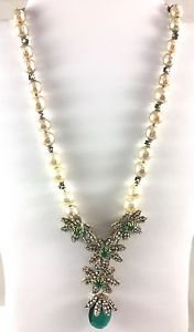 DEMARIO PEARL RHINESTONE Flowers NECKLACE Earring Bracelet Set Missing Crystals