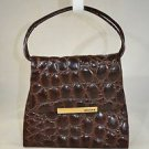 PERLINA BROWN FAUX CROCODILE EMBOSSED LEATHER TOTE