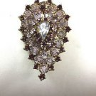 Vintage Large Gold Tone  Tear Shape Rhinestone 40's Brooch Pin