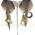 .925 Custom Hexigon Stamped Beaded Drop Earrings
