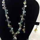 Athena Designs  .925 resin beaded Necklace green blue pink w/ matching earrings
